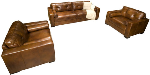 Element Home Furnishing SOH-3PC-S-SC-SC-RUST-1 Soho 3-Piece Top Grain Leather Collection in Rustic including 1-Sofa and 2-Standard Chairs - Peazz Furniture