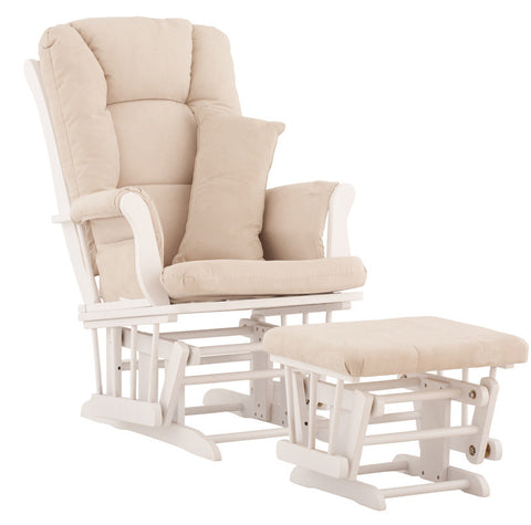 Storkcraft 06554-511 Tuscany Glider & Ottoman-White W/Beige Cushions - Peazz Furniture