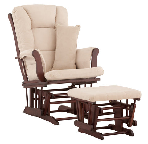 Storkcraft 06554-514 Tuscany Glider & Ottoman-Cherry W/Beige Cushions - Peazz Furniture