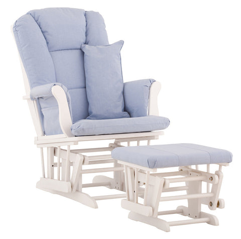 Storkcraft 06554-531 Tuscany Glider & Ottoman-White W/Blue Cushions - Peazz Furniture
