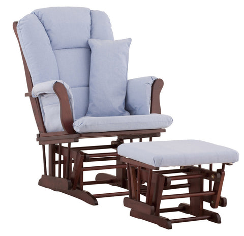 Storkcraft 06554-534 Tuscany Glider & Ottoman-Cherry W/Blue Cushions - Peazz Furniture