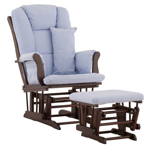 Storkcraft 06554-539 Tuscany Glider & Ottoman-Espresso W/Blue Cushions - Peazz Furniture