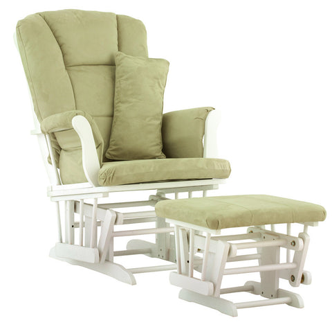 Storkcraft 06554-541 Tuscany Glider & Ottoman-White W/Sage Cushions - Peazz Furniture