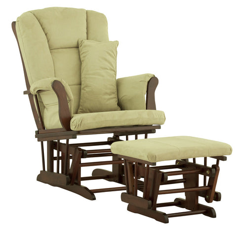 Storkcraft 06554-544 Tuscany Glider & Ottoman-Cherry W/Sage Cushions - Peazz Furniture
