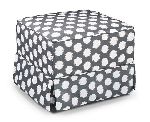 Storkcraft 06562-42F Storkcraft Polka Dot Upholstered Ottoman-Gray/White - Peazz Furniture