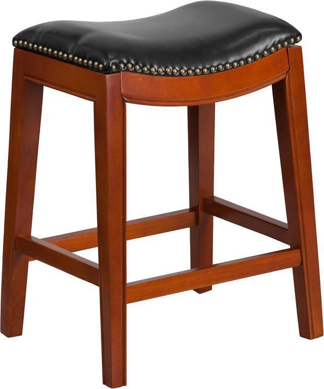 Gentil 26u0027u0027 High Backless Light Cherry Wood Counter Height Stool With Black  Leather Seat By Flash Furniture