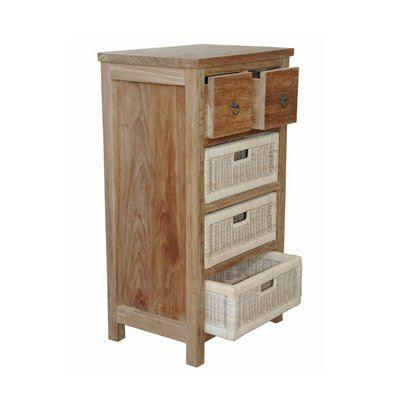 Bayden Hill TB-2130C Safari Occasional Table w/ Drawer & Rattan Baskets - Peazz.com