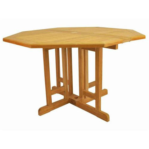 "Anderson Teak TBF-120BO Butterfly 47"" Octagonal Folding Table - Peazz Furniture"