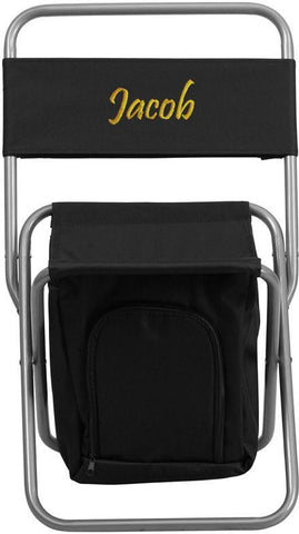 Flash Furniture TY1262-BK-EMB-GG Embroidered Kids Folding Camping Chair with Insulated Storage in Black - Peazz Furniture