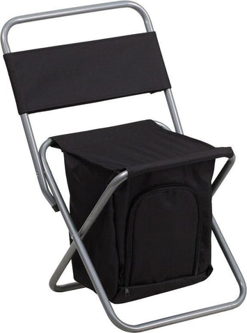 Flash Furniture TY1262-BK-GG Kids Folding Camping Chair with Insulated Storage in Black - Peazz Furniture