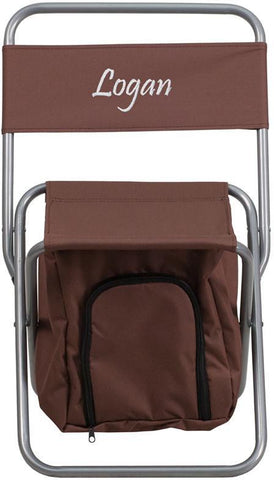 Flash Furniture TY1262-BN-EMB-GG Embroidered Kids Folding Camping Chair with Insulated Storage in Brown - Peazz Furniture