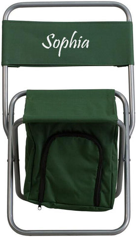 Flash Furniture TY1262-GN-EMB-GG Embroidered Kids Folding Camping Chair with Insulated Storage in Green - Peazz Furniture