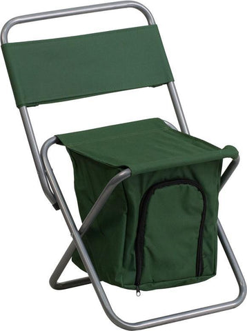 Flash Furniture TY1262-GN-GG Kids Folding Camping Chair with Insulated Storage in Green - Peazz Furniture