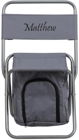 Flash Furniture TY1262-GY-EMB-GG Embroidered Kids Folding Camping Chair with Insulated Storage in Gray - Peazz Furniture