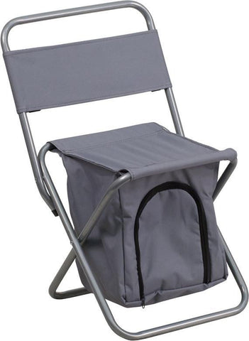 Flash Furniture TY1262-GY-GG Kids Folding Camping Chair with Insulated Storage in Gray - Peazz Furniture
