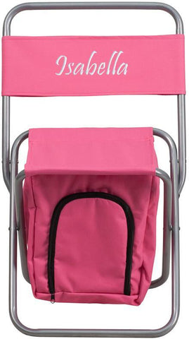 Flash Furniture TY1262-PK-EMB-GG Embroidered Kids Folding Camping Chair with Insulated Storage in Pink - Peazz Furniture