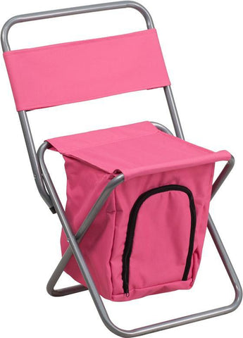 Flash Furniture TY1262-PK-GG Kids Folding Camping Chair with Insulated Storage in Pink - Peazz Furniture