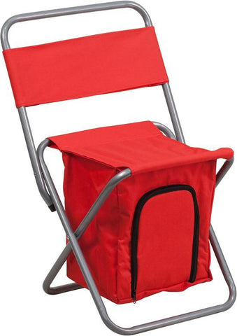 Flash Furniture TY1262-RED-GG Kids Folding Camping Chair with Insulated Storage in Red - Peazz Furniture