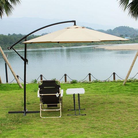 10 Feet Outdoor Market Aluminum Umbrella with leaning arch pole (Beige) - Peazz Furniture