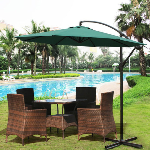 10 Feet Outdoor Market Aluminum Umbrella with leaning arch pole (Dark Green) - Peazz Furniture