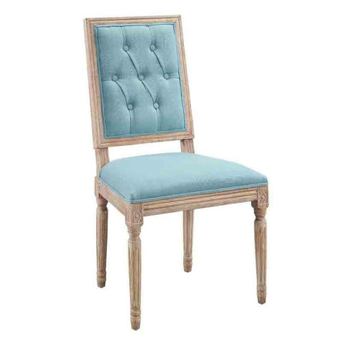 Linon W03490B Avalon Blue Tufted Square Back Dining Chairs Set Of Two