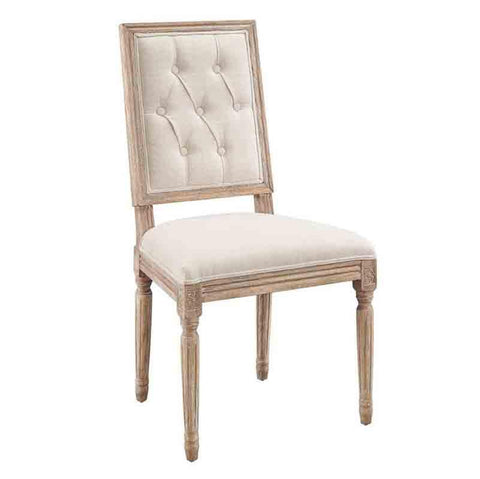 Linon W03490L Avalon Linen Tufted Square Back Dining Chairs Set Of Two