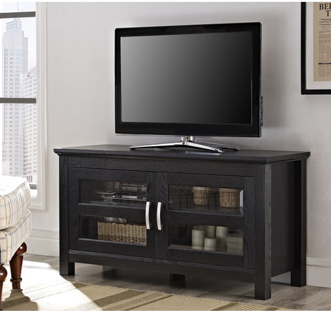 "Walker Edison W44CFDBL 44"" Black Wood TV Stand Console - Peazz Furniture"