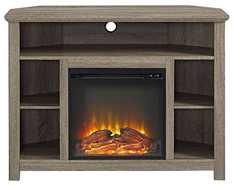 "Walker Edison W44FPHBCAG 44"" Wood Corner Highboy Fireplace TV Stand Driftwood Finish"