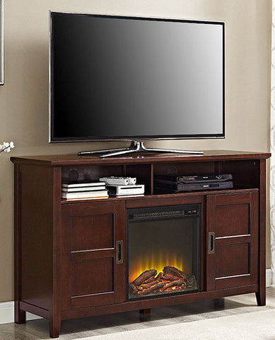 "Walker Edison W52FPCRCF 52"" Rustic Chic Fireplace TV Stand Coffee Finish"