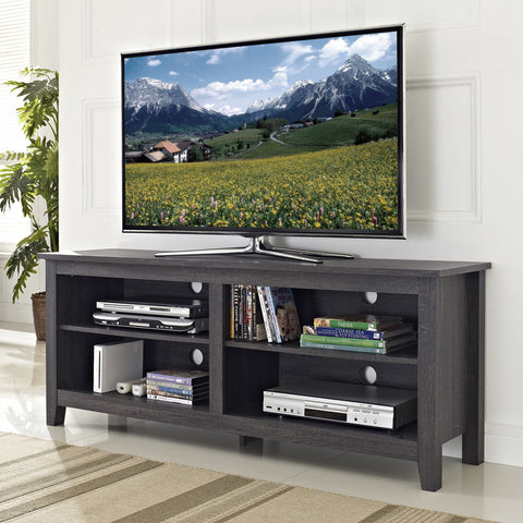 "Walker Edison W58CSPCL 58"" Charcoal Grey Wood TV Stand Console - Peazz Furniture - 1"