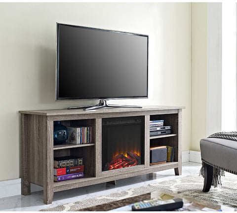 "Walker Edison W58FP18AG 58"" Driftwood TV Stand with Fireplace Insert - Peazz Furniture - 1"