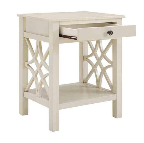 Linon WM129WHT01U Whitley Antique White End Table