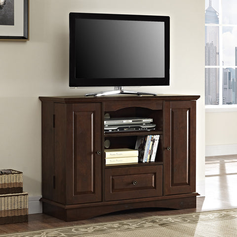 "Walker Edison WQ42BC3TB 42"" Brown Wood Highboy TV Stand - Peazz Furniture - 1"