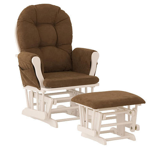 Storkcraft 06550-691 Hoop Glider/Ottoman-White W/Chocolate - Peazz Furniture