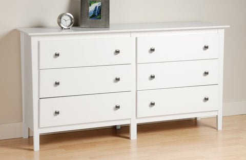 Prepac WRK-6233 White Berkshire Dresser with 6 Drawers in White - Peazz Furniture