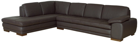 Wholesale Interiors 625-M9805-Sofa/lying-Leather/Match (M) Diana Dark Brown Sofa/Chaise Sectional Reverse - Each - Peazz Furniture