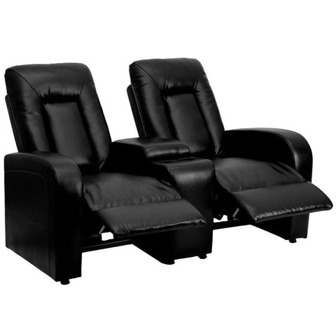 Flash Furniture BT-70259-2-BK-GG Black Leather 2-Seat Home Theater Recliner with Storage Console - Peazz Furniture