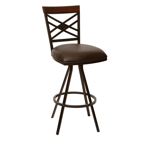 "Armen Living LCZO26BABR Zoe 26"" Transitional Armless Barstool In Coffee  and Auburn Bay Metal - Peazz Furniture"