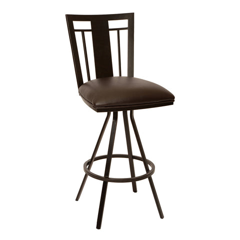 "Armen Living LCCL26BABR Cleo 26"" Transitional Barstool In Coffee  and Auburn Bay Metal - Peazz Furniture"