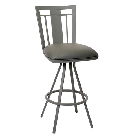 "Armen Living LCCL26BAGR Cleo 26"" Transitional Barstool In Gray  and Gray Metal - Peazz Furniture"