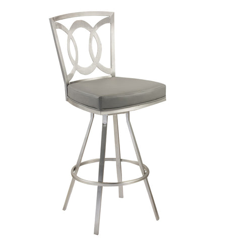 "Armen Living LCDR26SWBAGRB201 Drake 26"" Contemporary Swivel Barstool In Gray  and Stainless Steel - Peazz Furniture"