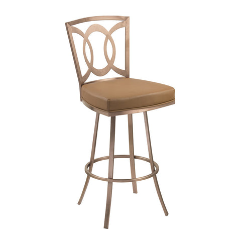 "Armen Living LCDR30SWBACAG201 Drake 30"" Contemporary Swivel Barstool In Camel  and Gold Finish - Peazz Furniture"