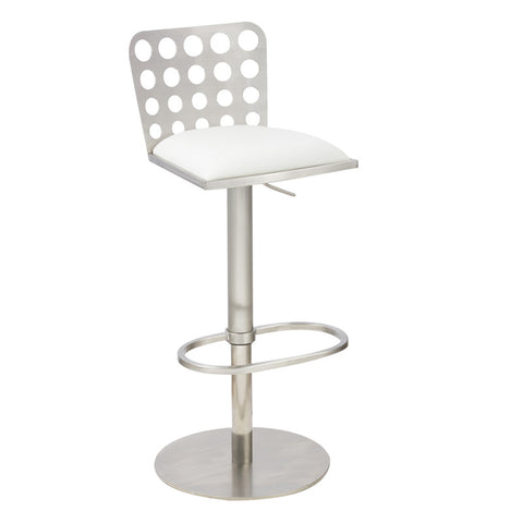 Armen Living LCDUBAWHB201 Dune Contemporary Barstool In White  and Stainless Steel - Peazz Furniture