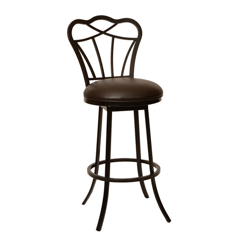 "Armen Living LCGA30BABR Galvin 30"" Transitional Modern Barstool In Coffee  and Auburn Bay Metal - Peazz Furniture"