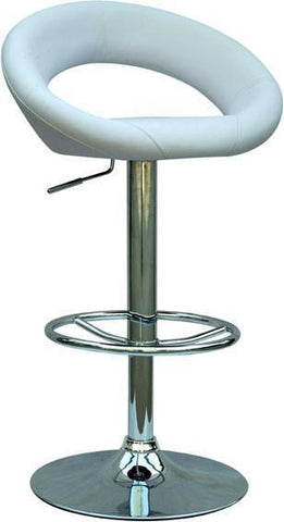 "Chintaly 0379-AS-WHT Pneumatic Gas Lift Adjustable Height Swivel Stool - 24.5"" - 33"" - BarstoolDirect.com"