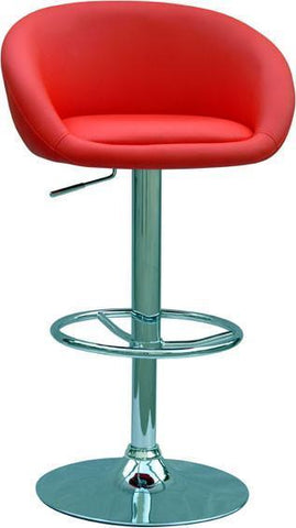 "Chintaly 0380-AS-RED Pneumatic Gas Lift Adjustable Height Swivel Stool - 25"" - 33"" - BarstoolDirect.com"