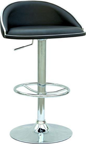 "Chintaly 0388-AS-BLK Pneumatic Gas Lift Adjustable Height Swivel Stool - 24"" - 32"" - BarstoolDirect.com"