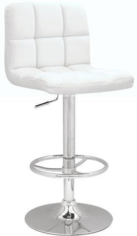 "Chintaly 0394-AS-WHT Stitched Seat & Back Pneumatic Gas Lift Adjustable Height Swivel Stool - 25"" - 33"" - BarstoolDirect.com"