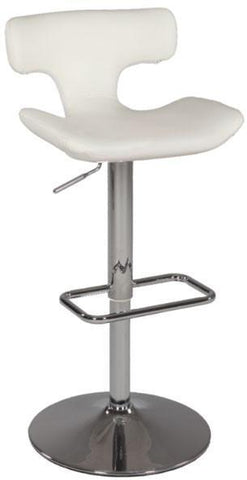 "Chintaly 0623-AS-WHT Pneumatic Gas Lift Swivel Stool - 29.92"" - 39.57"" - BarstoolDirect.com"