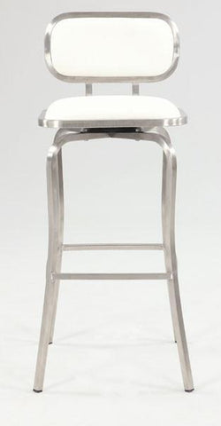 Chintaly 1192-BS-WHT Modern Swivel Bar Stool - BarstoolDirect.com